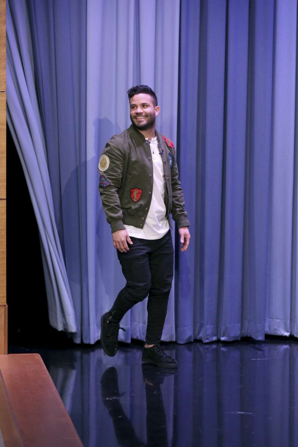 THE TONIGHT SHOW STARRING JIMMY FALLON -- Episode 0767 -- Pictured: Athlete José Altuve during an interview on November 2, 2017 -- (Photo by: Andrew Lipovsky/NBC/NBCU Photo Bank via Getty Images)