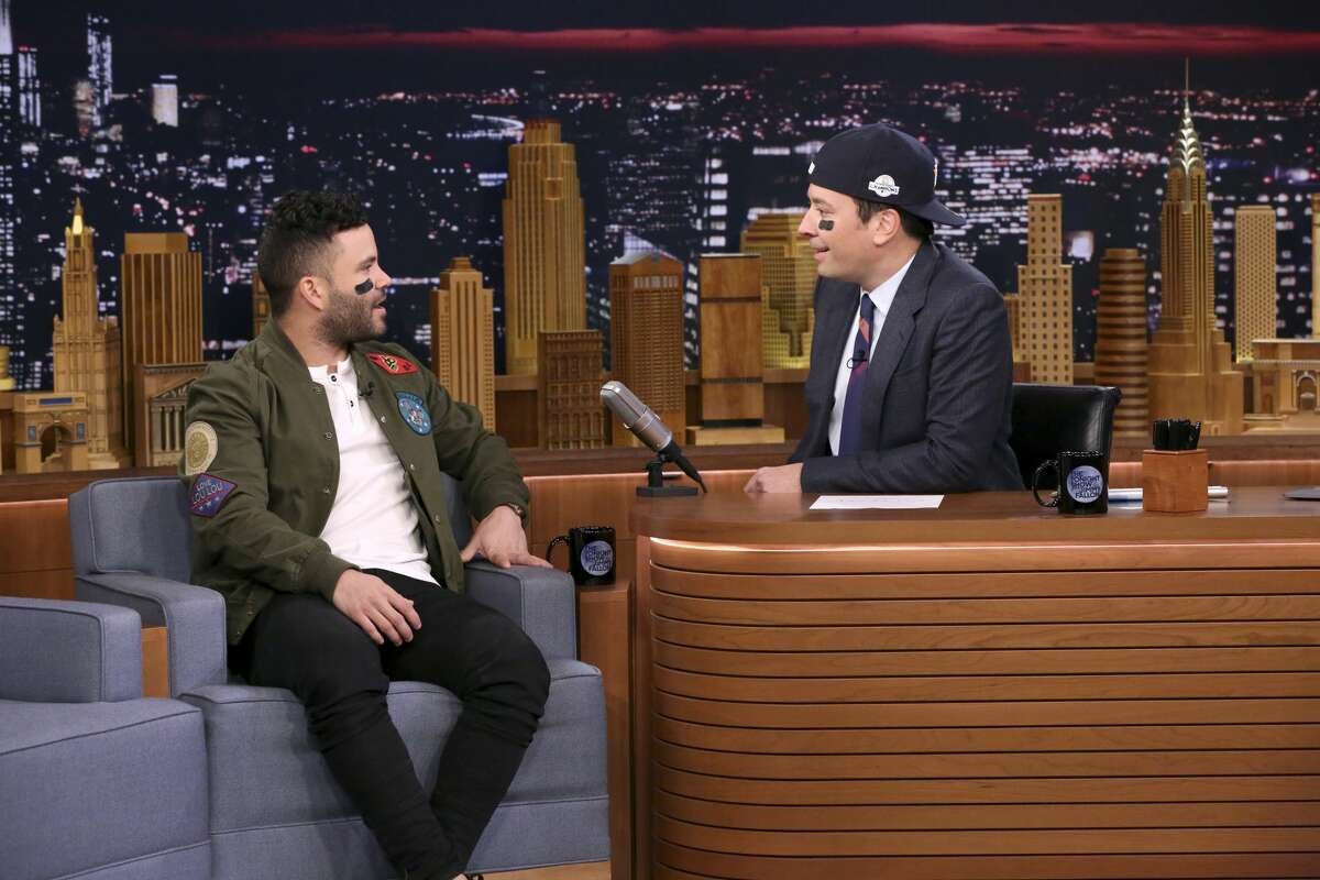 THE TONIGHT SHOW STARRING JIMMY FALLON -- Episode 0767 -- Pictured: (l-r) Athlete José Altuve during an interview with host Jimmy Fallon on November 2, 2017 -- (Photo by: Andrew Lipovsky/NBC/NBCU Photo Bank via Getty Images)