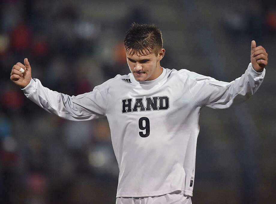 Hand junior forward Lee Wildermann celebrates following their 4-2 win over Fairfeld Prep in the SCC championship, Thursday, Nov. 2, 2017, at Ken Strong Stadium at West Haven High School. Photo: Catherine Avalone / Hearst Connecticut Media / New Haven Register