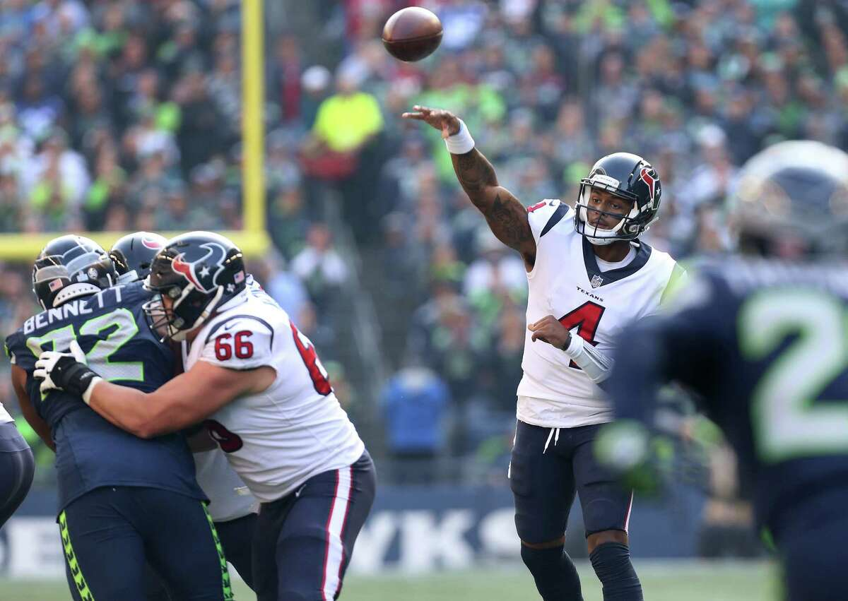 Texans quarterback Deshaun Watson (4) leads the NFL with 21 touchdowns, and he also leads all quarterbacks with 269 rushing yards.