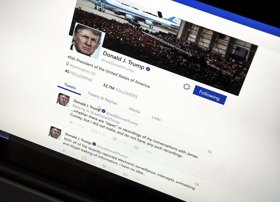 In this June 22, 2017, photo, President Donald Trump's Twitter page with his tweets about not recording his conversations with former FBI Director James Comey is photographed in Washington. The Trump administration's mastery of the online world notably doesn't extend to Spanish-language content. It never replaced the Spanish portion of the White House website; its Spanish Twitter account is peppered with English and features abundant typos; and there appears to be little outreach to a demographic that rejected Trump by an overwhelming margin. (AP Photo/J. David Ake) Photo: J. David Ake, Associated Press