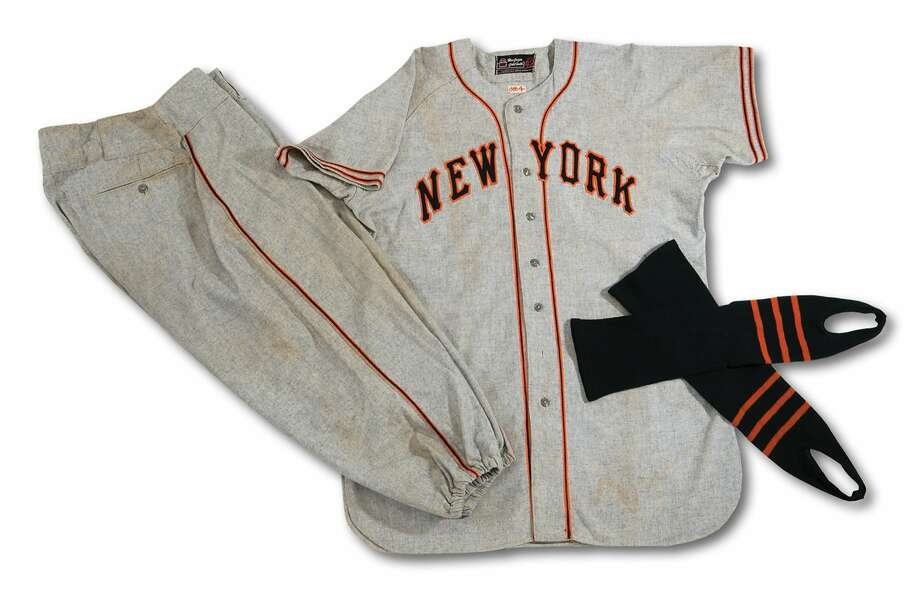 Mel Ott's uniform from his final season as manager of the New York Giants (1948). Photo: Courtesy, SCP Auctions
