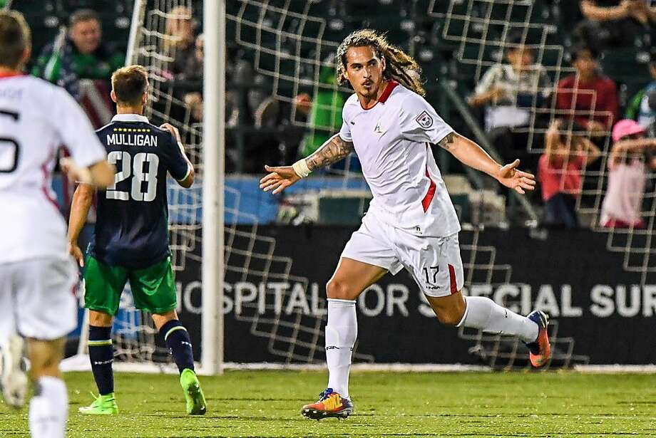 Devon Sandoval celebrates scoring his second goal against the New York Cosmos on Sept. 20, 2017 in Brooklyn, New York. (Courtesy New York Cosmos)