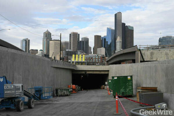 The Seattle skyline is visible, but not for long, as you enter the south end of the tunnel.