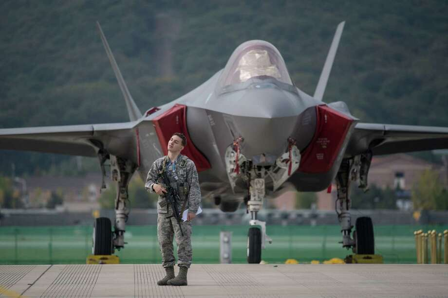 An F-35 Lightning II jet in Seongnam, South Korea, in mid-October 2017. Oxford, Conn.-based RBC Bearings, which supplies precision-engineered components for the F-35 and other military aircraft, is closing a Montreal plant in the final months of 2017. Photo: ED JONES / AFP /Getty Images / AFP or licensors
