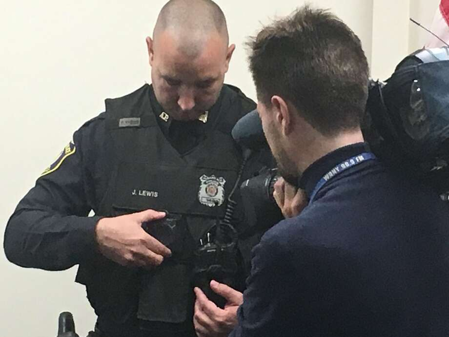 Albany Police Department officers test out new body cameras on Friday, Nov. 3, 2017. They will begin using the devices for the first time on Monday, Nov. 6, 2017. Photo: Larry Rulison/Times Union