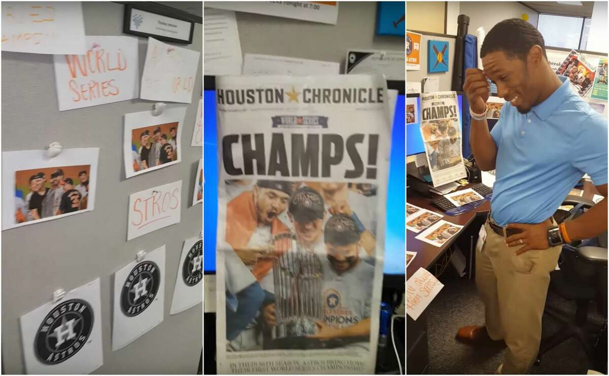 A lone Los Angeles Dodgers fan and Houston Health Department employee found his cubicle covered in Astros photos Thursday courtesy of fans in the office.