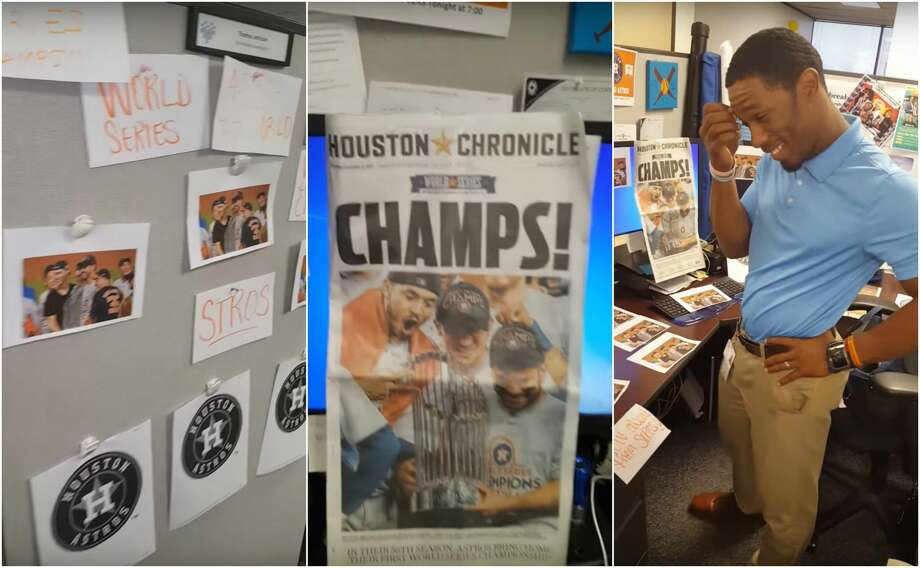 A lone Los Angeles Dodgers fan and Houston Health Department employee found his cubicle covered in Astros photos Thursday courtesy of fans in the office.  Photo: YouTube/Delisa Shaw