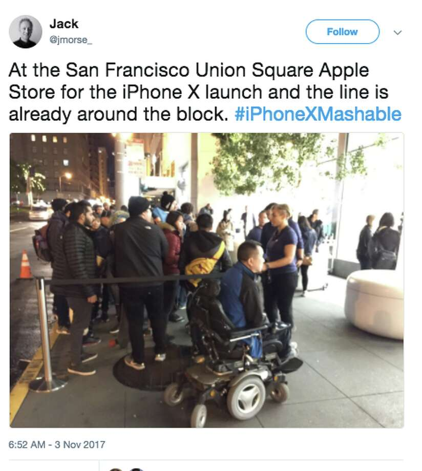 Lines for the new iPhone X began to form at San Francisco's Apple stores on Nov. 2, 2017. Apple began selling the phone in stores on Nov. 3 at 8 a.m. Photo: Twitter Screen Grab