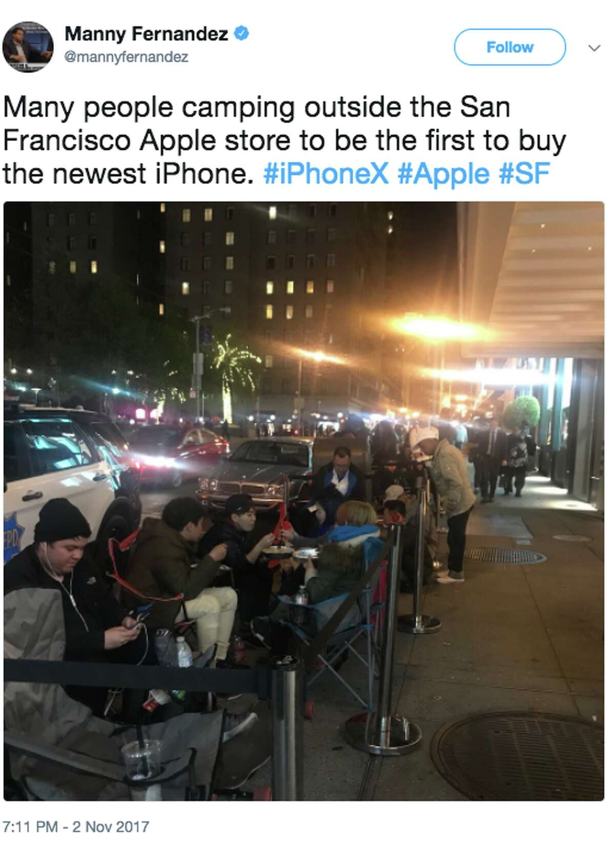 Lines for the new iPhone X began to form at San Francisco's Apple stores on Nov. 2, 2017. Apple began selling the phone in stores on Nov. 3 at 8 a.m.