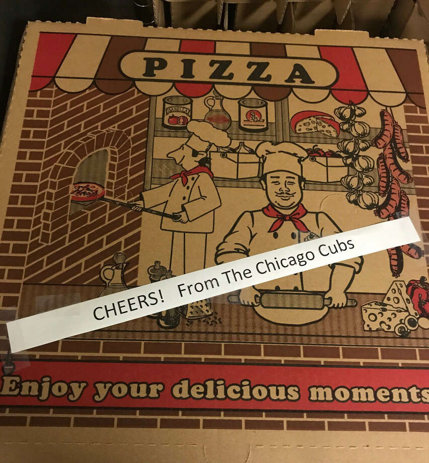 The Chicago Cubs sent the Astros 40 pizzas as congratulations for winning the World Series. It's become a tradition that the previous year's champion sends the new champion pizza. Photo: Fuzzy's Pizza