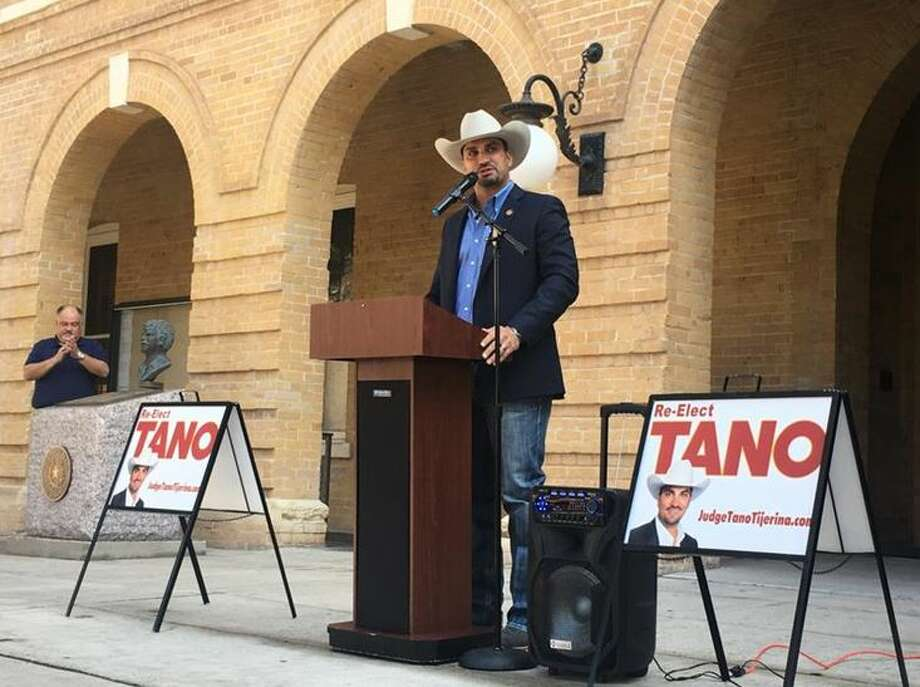 Webb County Judge Tano Tijerina announces his re-election campaign to a large crowd of supporters Thursday.  Photo: Courtesy