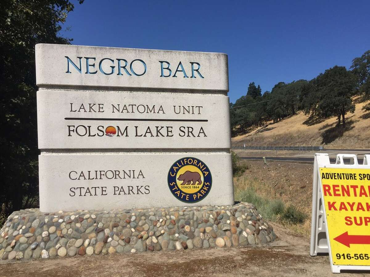 The entrance to Negro Bar in Folsom, Calif. The state parks system is considering changing the recreation area's name, which some people find offensive.