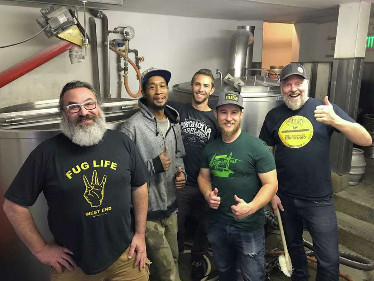 Dave McLean of Magnolia (far left) is joined by Shaun O'Sullivan of 21st Amendment (far right) and a crew of brewers.