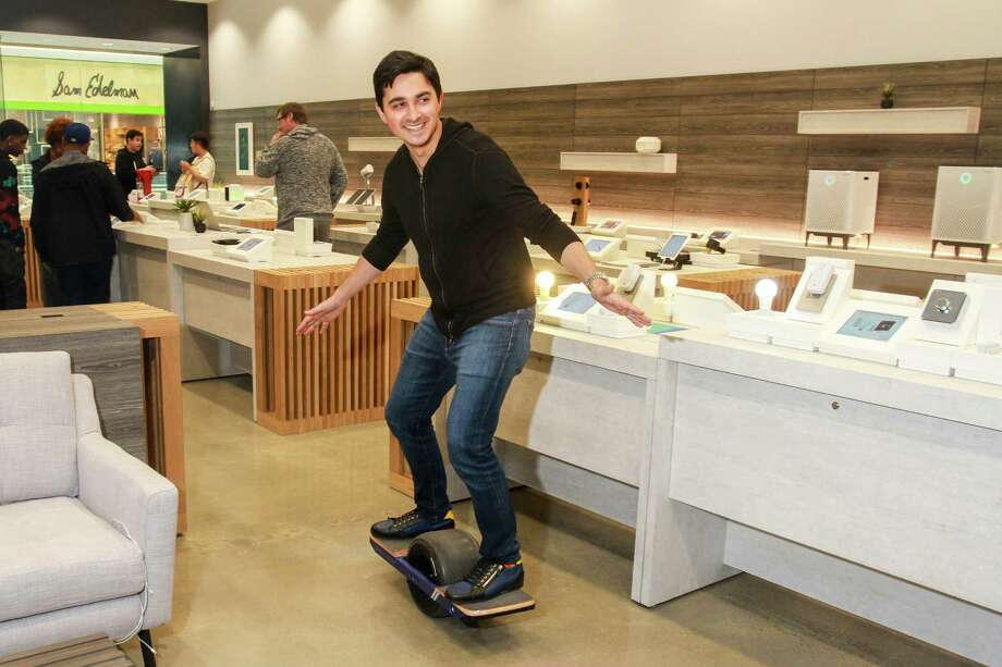 B8ta CEO Vibhu Norby riding a Onewheel Plus inside the new B8ta store in the Galleria. The store features products mostly from startups. There's one of each item in the store, next to an iPad from which customers can order.  (For the Chronicle/Gary Fountain, October 27, 2017) Photo: Gary Fountain, For The Chronicle / Copyright 2017 Gary Fountain