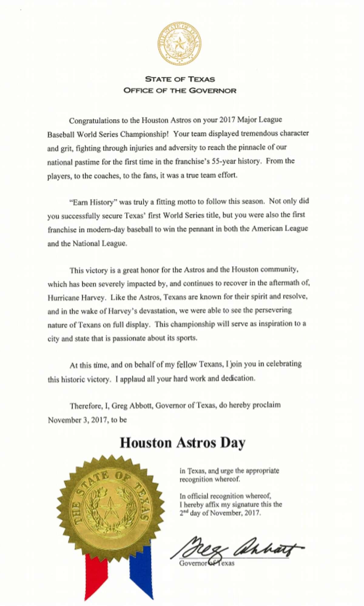 Gov. Abbott proclaims Houston Astros Day