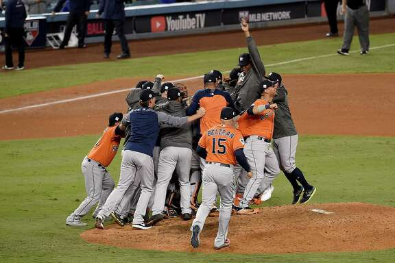 LOS ANGELES, CA - NOVEMBER 01:  The Houston Astros celebrate defeating the Los Angeles Dodgers 5-1 in game seven to win the 2017 World Series at Dodger Stadium on November 1, 2017 in Los Angeles, California.