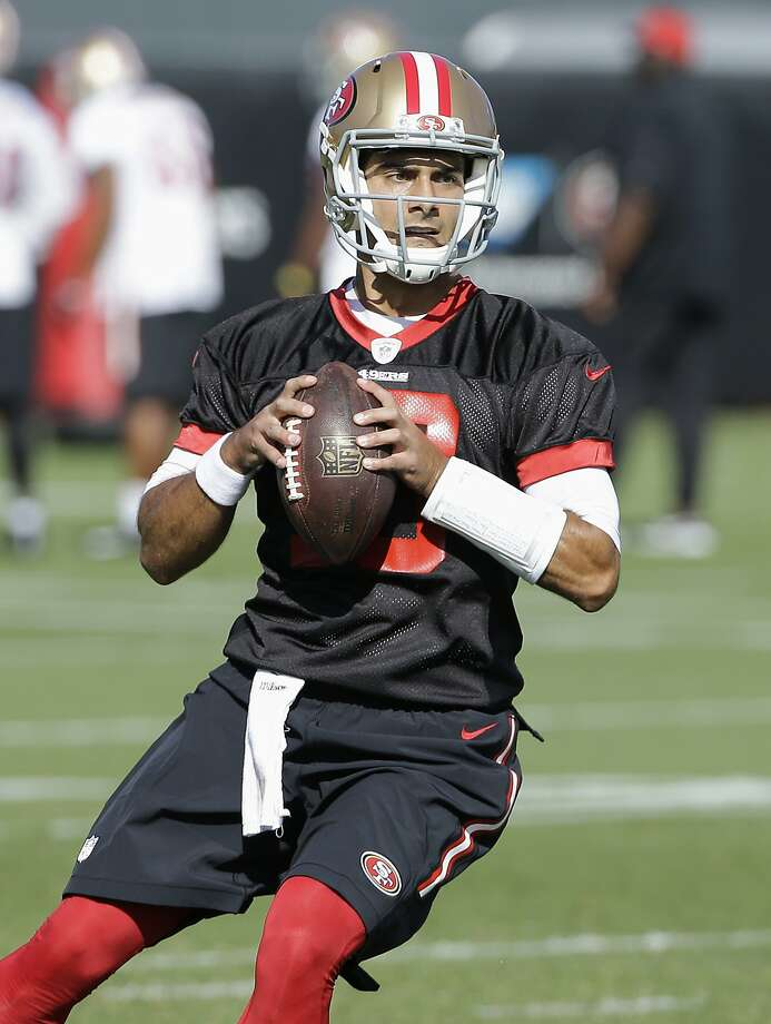San Francisco 49ers quarterback Jimmy Garoppolo practices at the team's NFL training facility in Santa Clara, Calif., Wednesday, Nov. 1, 2017. (AP Photo/Jeff Chiu) Photo: Jeff Chiu, Associated Press
