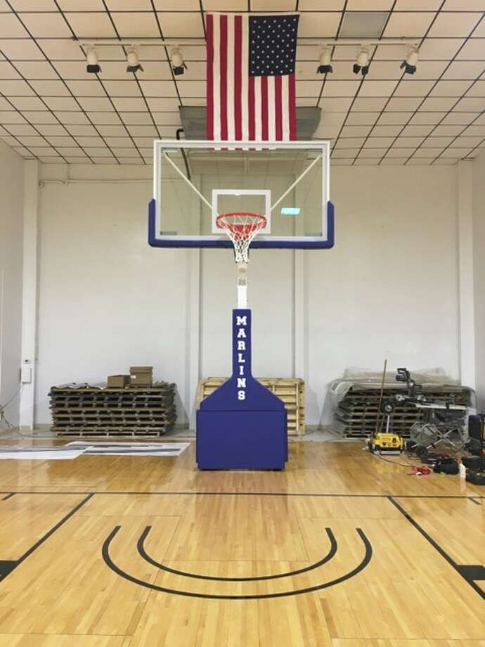 Pictured here is the temporary gym set up for students of Port Aransas Independent School District, ready for practice at the city's civic center by Oct. 20, 2017. Photo: Courtesy/City Of Port Aransas