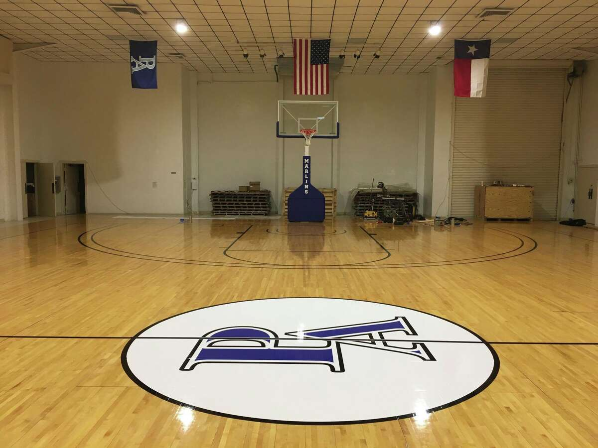 Pictured here is the temporary gym set up for students of Port Aransas Independent School District, ready for practice at the city's civic center by Oct. 20, 2017.