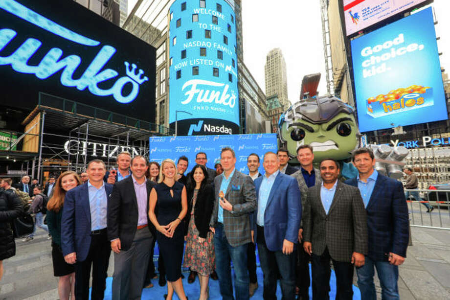 The Funko team after the company kicked off a new era as a publicly traded company. Photo: Nasdaq Photo