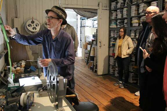 Stephen Parr led a tour by film students of his Oddball Films archive in 2016.
