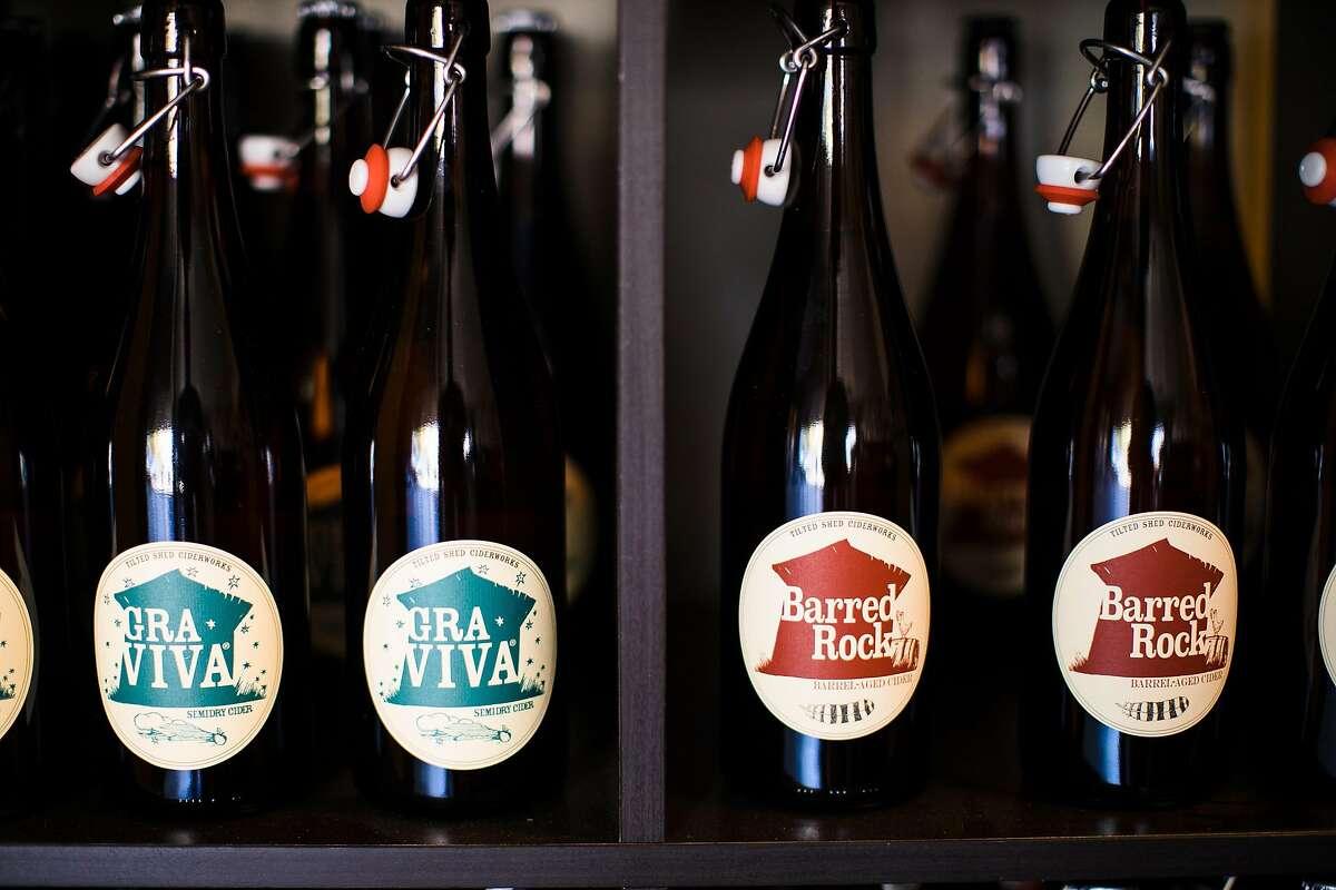 Tilted Shed Ciderworks bottles on display at their tasting room in Windsor, Calif. Saturday, October 28, 2017.