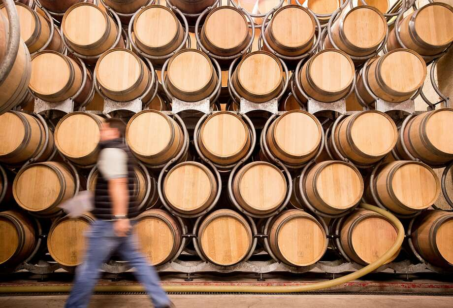 Wine barrels are stacked at Grgich Hills Estate where production techniques result in all vegan wines. Photo: Noah Berger, Special To The Chronicle