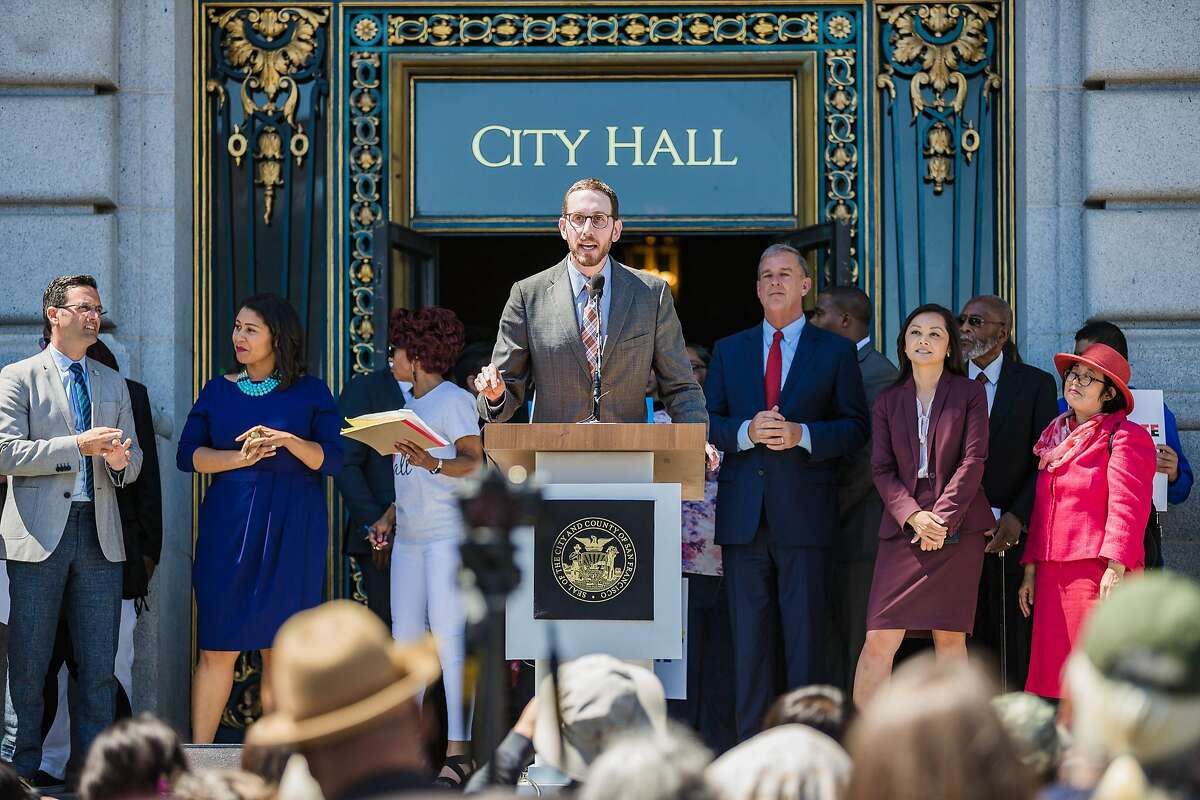 August 25, 2017 - Senator Scott Wiener addressed the crowd at the Unite Against Hate Rally at City Hall. (Nick Otto Special to the Chronicle)