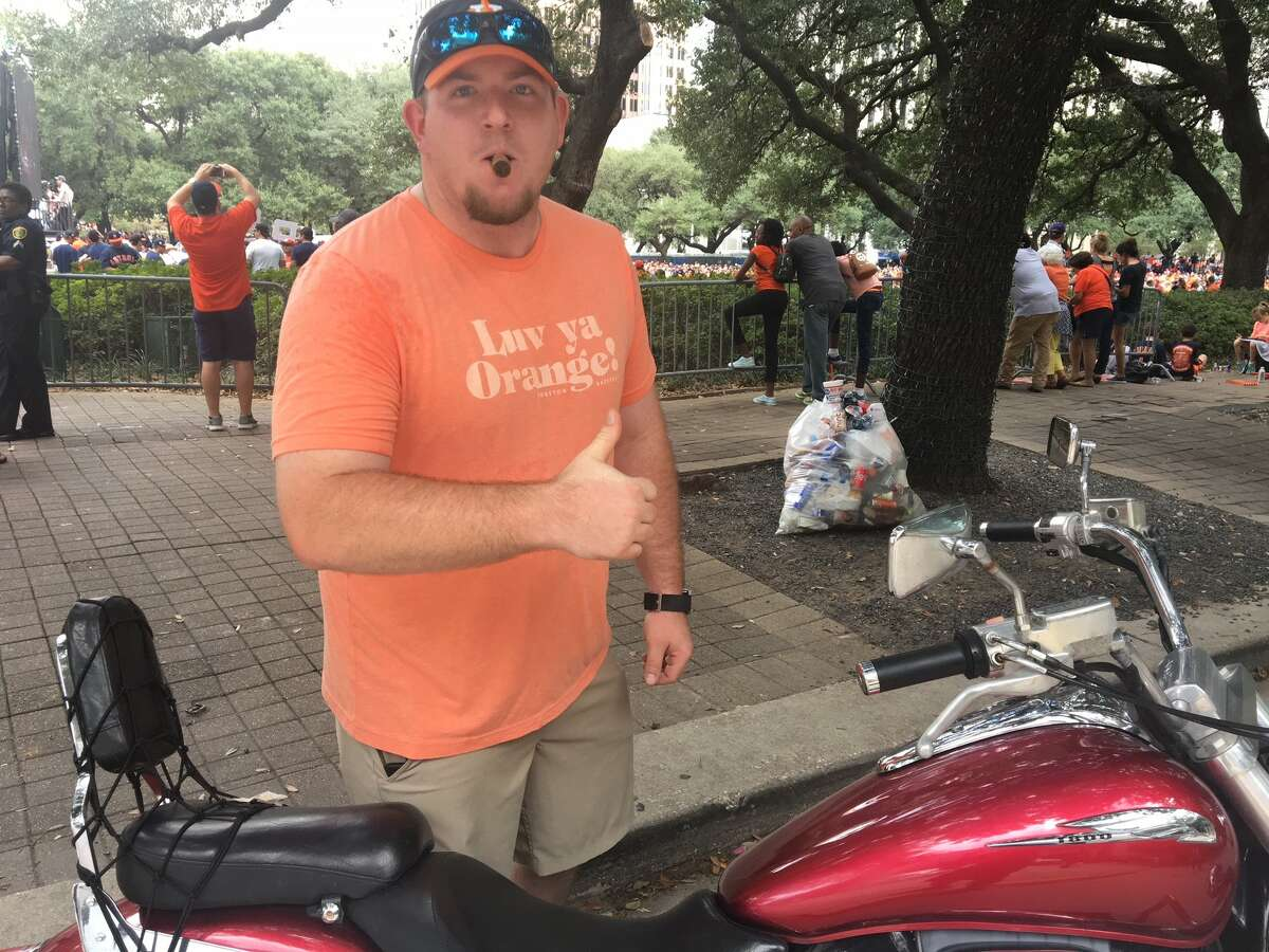 Houston Astros fans begin to line the city streets in preparation for the World Series victory parade Tuesday afternoon.