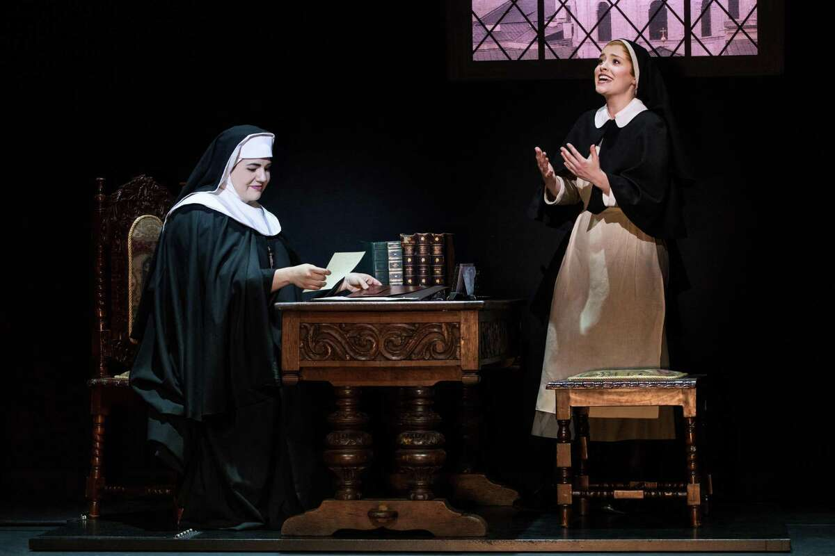Lauren Kidwell as the Mother Abbess and Jill-Christine Wiley as Maria Rainer in a scene from