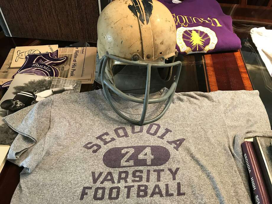 Ray Balzarini's helmet and practice T-shirt from 1967. Photo: Sam Whiting