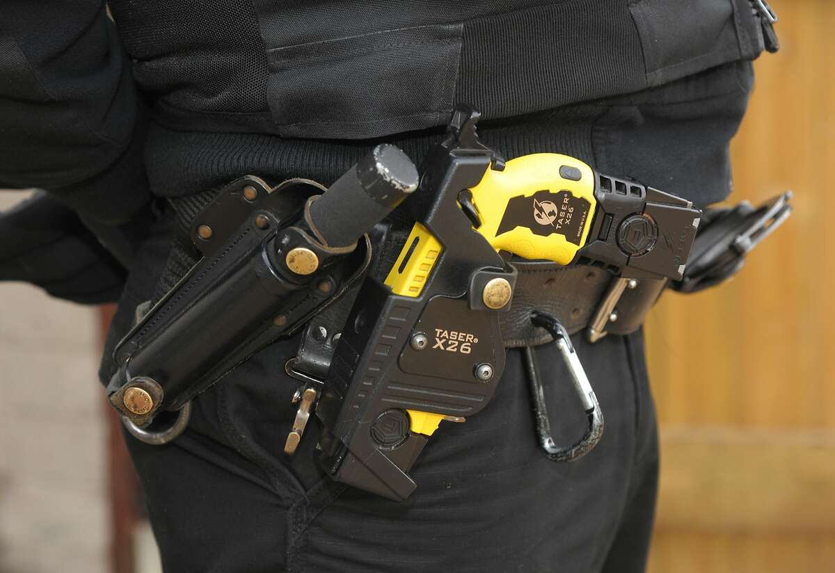 The San Francisco Police Department has been seeking to outfit officers with Tasers, like one pictured in this file photo. The San Francisco Police Commission could vote Friday night whether to equip officers with Taser electroshock weapons, a proposal that has been debated and repeatedly rejected for nearly a decade.