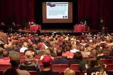 On Thursday, November 2, 2017 at Pomperaug High School The Southbury Board of Selectmen had a discussion on whether members wanted the town attorney to draft an ordinance that would ban firearms at town events and on town-owned property. The meeting was moved to Pomperaug after crowds at an earlier meeting on the proposal were over Town Hall capacity limits. Both members of the Newtown Action Alliance and pro-gun supporters rallied people to attend the meeting and speak either for or against the idea.