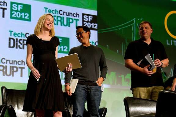 Marissa Mayer, chief executive officer of Yahoo! Inc., from left, David Lee, founder and managing partner of SV Angel and Michael Arrington, founder of TechCrunch Inc and partner at CrunchFund, attend TechCrunch Disrupt SF 2012 in San Francisco, California, U.S., on Wednesday, Sept. 12, 2012. Mayer is trying to drive a turnaround at a company that suffered three straight years of sales declines as Google Inc. and Facebook Inc. did a better job attracting users and advertisers. Photographer: David Paul Morris/Bloomberg *** Local Caption *** Marissa Mayer; David Lee; Michael Arrington