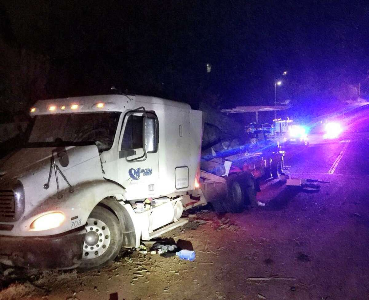 A big rig full of bee hives crashed in Auburn on Thursday night, police said.