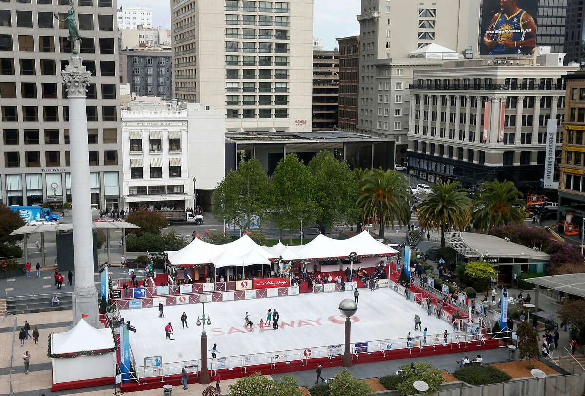 The ice skating rink is open for the holiday season at Union Square in San Francisco, Calif. on Friday, Nov. 3, 2017.