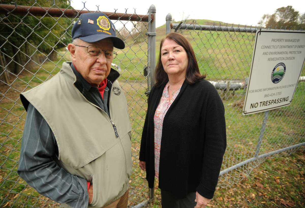 Shelton Board of Alderman President John Anglace, left, and Planning & Zoning Commission Chairman Ruth Parkins are concerened over DEEP's plan to erect solar panels on the former city landfill on River Road in Shelton, Conn. on Thursday, November 2, 2017.