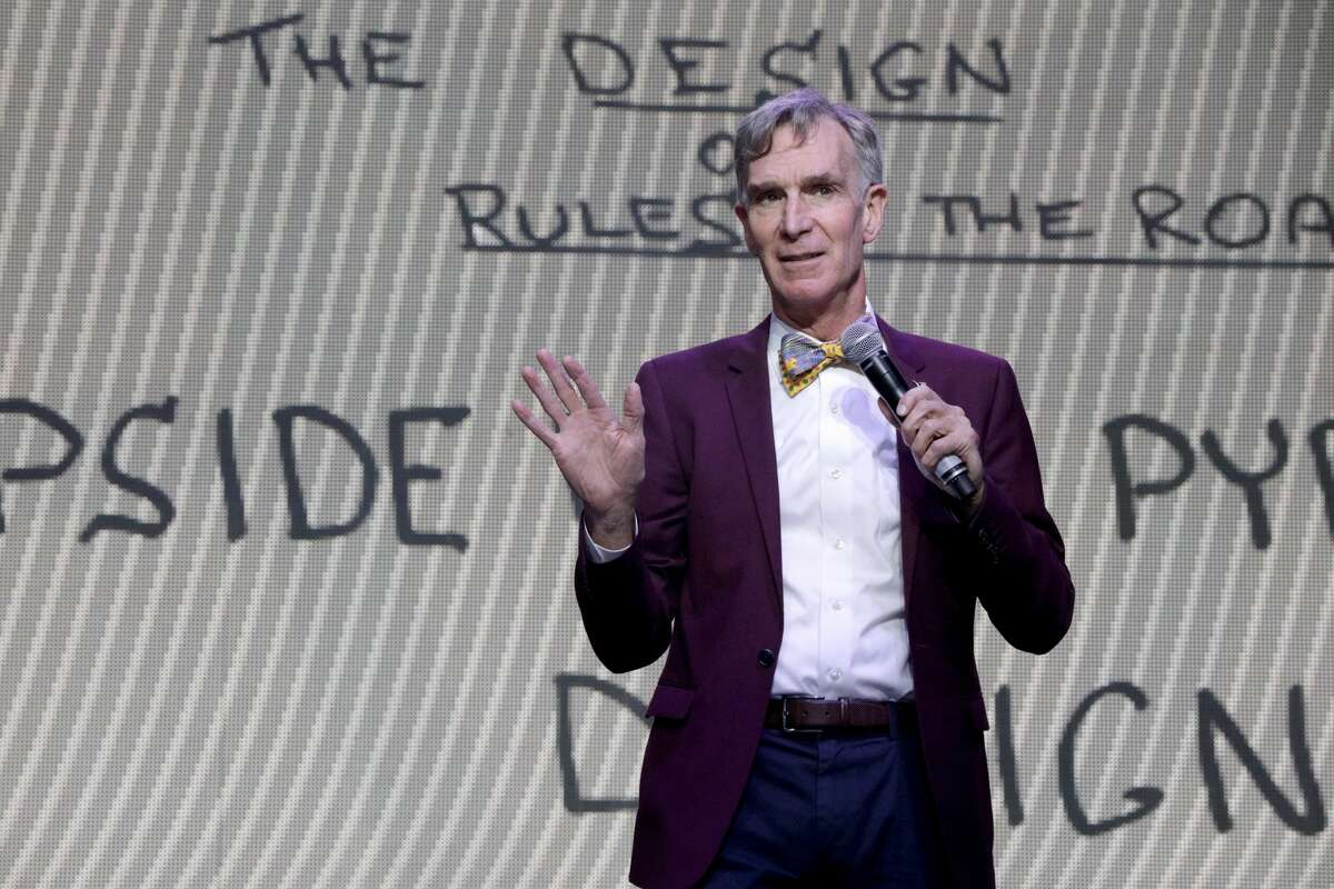 LAS VEGAS, NV - SEPTEMBER 22: Bill Nye speaks on Fremont Stage during day 1 of the 2017 Life Is Beautiful Festival on September 22, 2017 in Las Vegas, Nevada. (Photo by FilmMagic/FilmMagic)