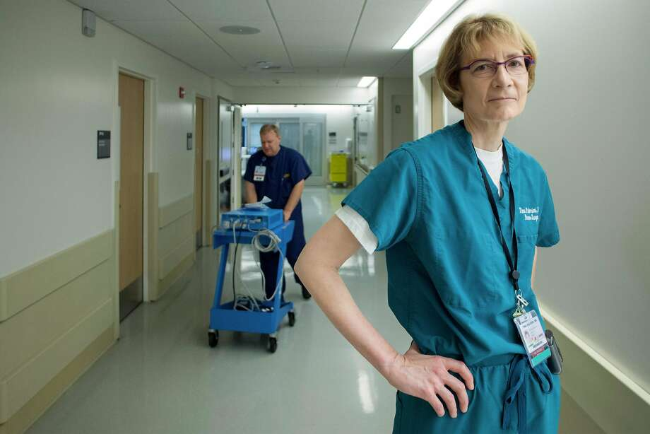 Dr. Tina Palmieri, head of the UC Davis Medical Center's regional burn center, stands in the hallway leading to the burn unit's intensive care unit. Photo: Peter DaSilva, Special To The Chronicle