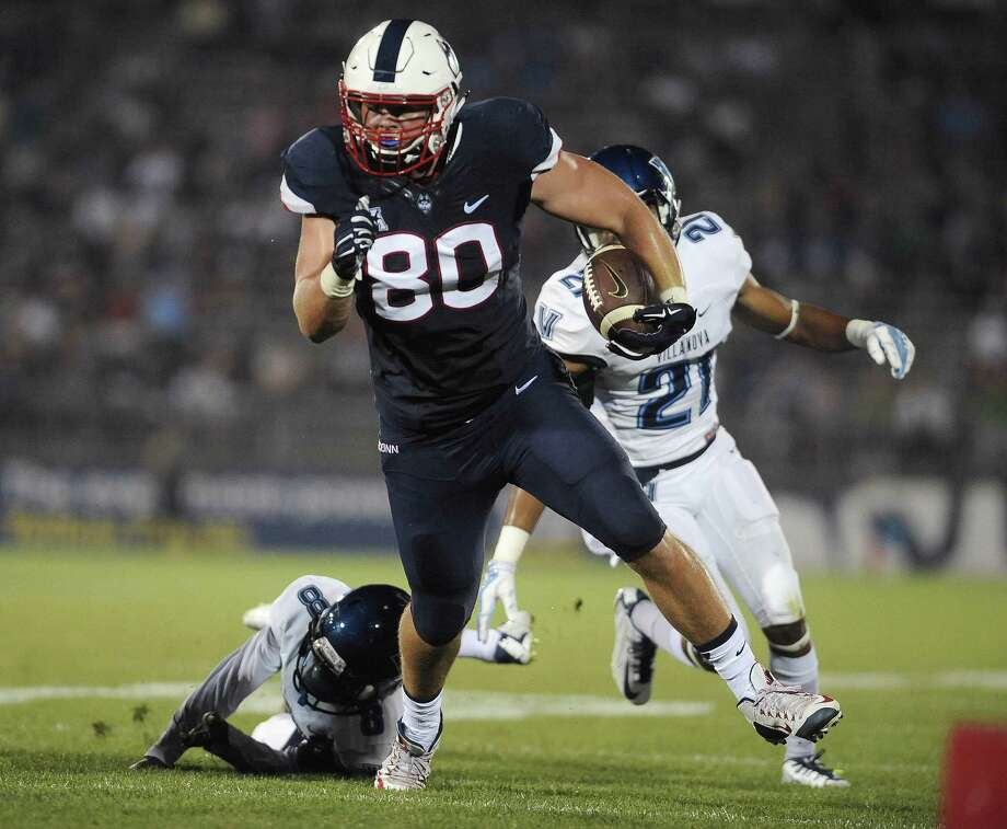 UConn tight end Tommy Myers will be playing his final game at Rentscheler Field when the Huskies face USF on Saturday. Photo: Jessica Hill / Associated Press / FR125654 AP