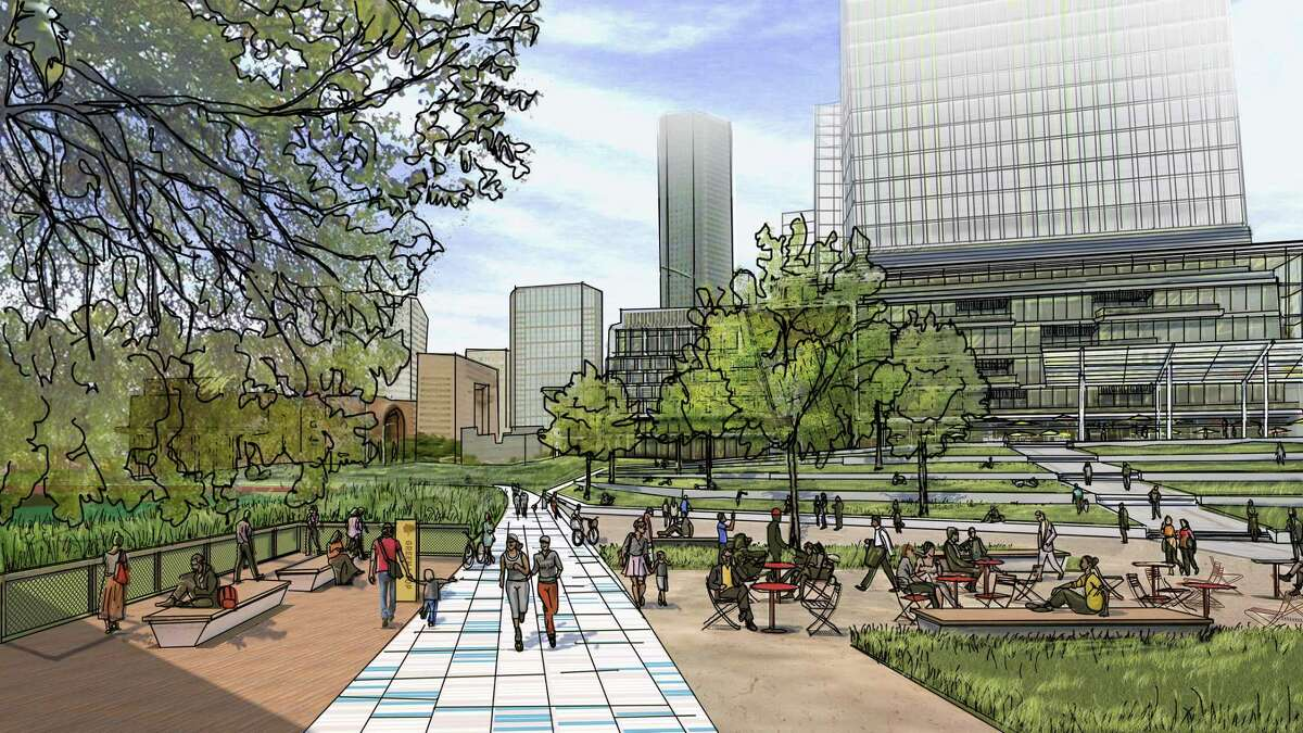 Rendering of Central HoustonÂ?'s vision along the Buffalo Bayou on the west side of downtown Houston. Plans call for seating along the bayou and new flood-resilient buildings with bayou views.