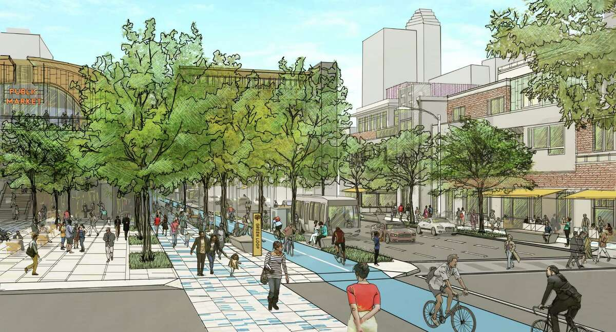 """This rendering shows Central Houston' vision of Pierce Street on the southern edge of downtown. Plans call for a """"Green Loop"""" trail around downtown, plus more cafes, public art and trees for shade."""