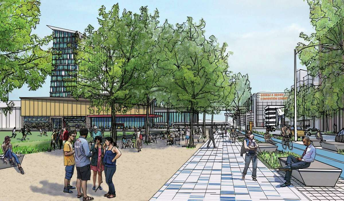 Rendering of Central HoustonÂ?'s vision along Hamilton street, between Minute Maid Park and the Eastex Freeway. Plans call for recreational fields, restaurants and pedestrian and bike amenities.