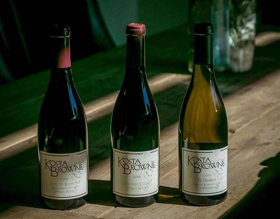 Three wines of Kosta Browne Winery in Sebastopol. Photo: John Storey, Special To The Chronicle