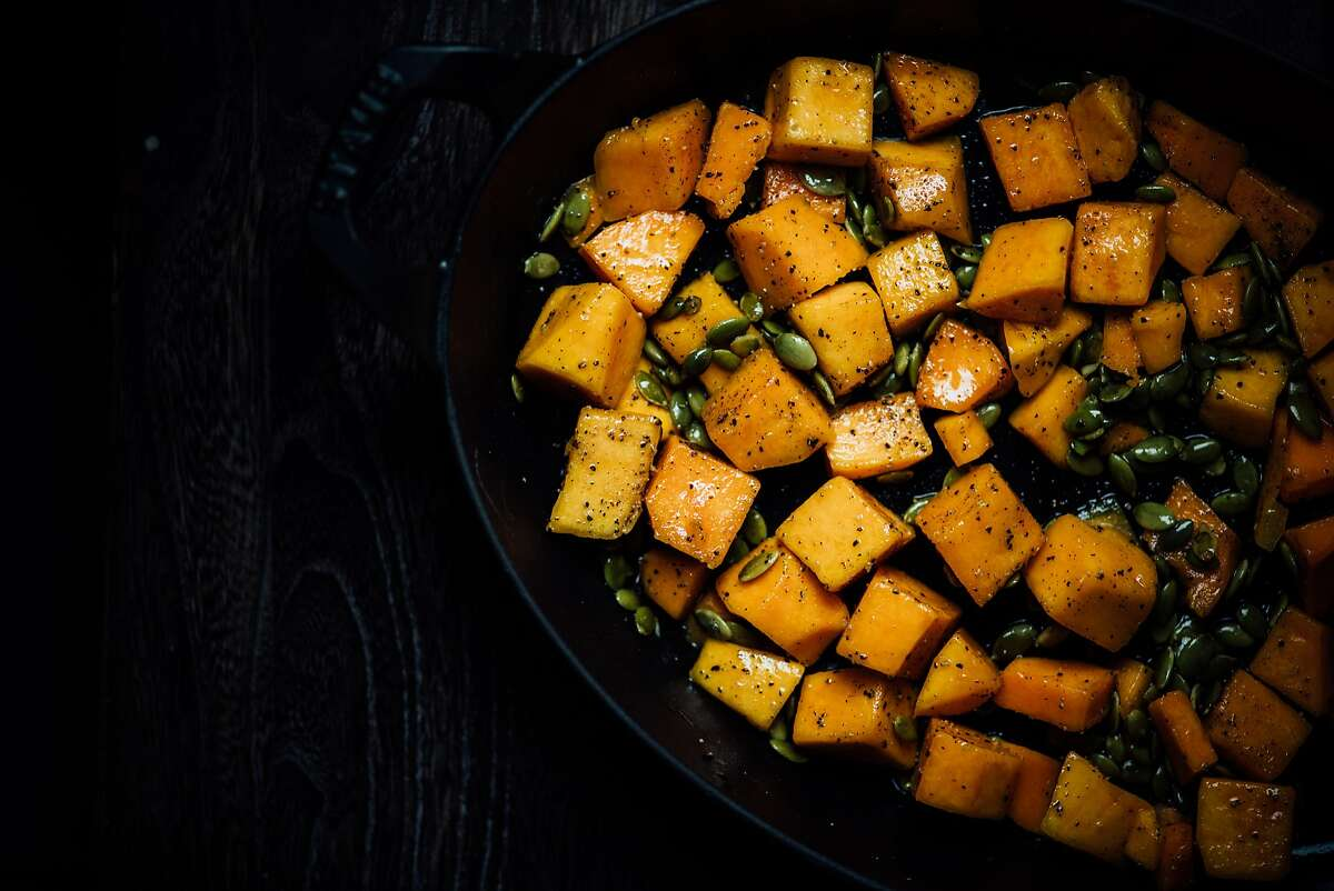 Roasted butternut squash salad with lime curry leaf dressing