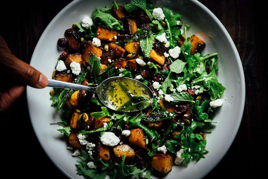 Roasted Butternut Squash Salad With Lime Curry Leaf Dressing Photo: Nik Sharma