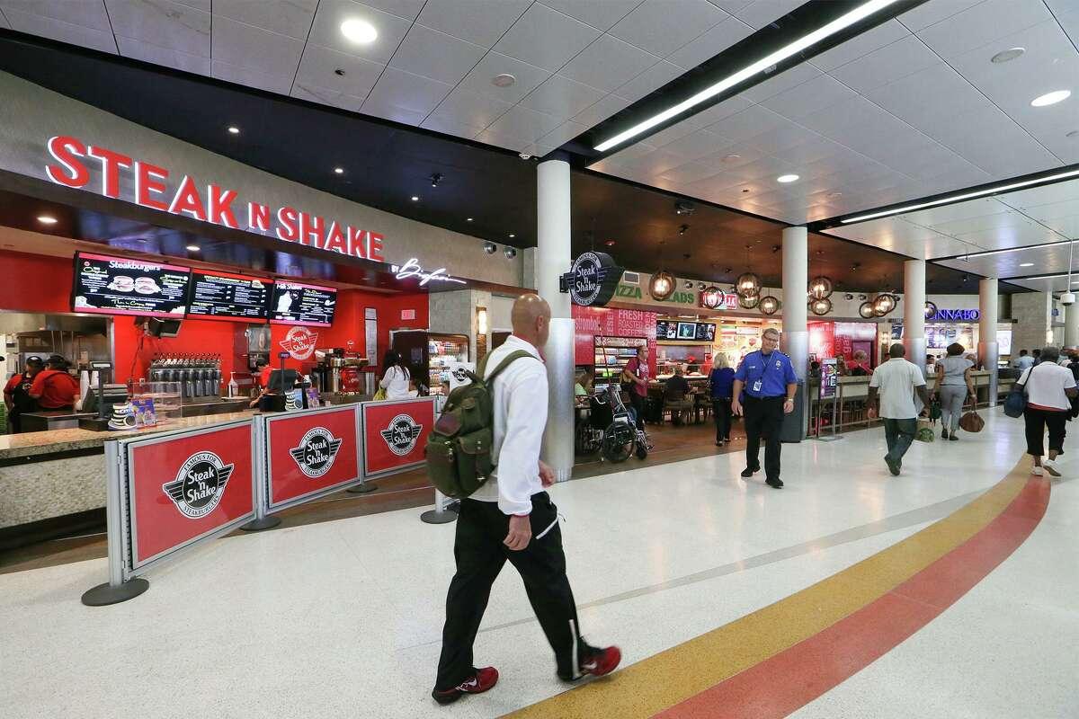 The Steak n Shake restaurant at San Antonio International Airport. The restaurant chain is owned by San Antonio-based Biglari Holdings Inc.