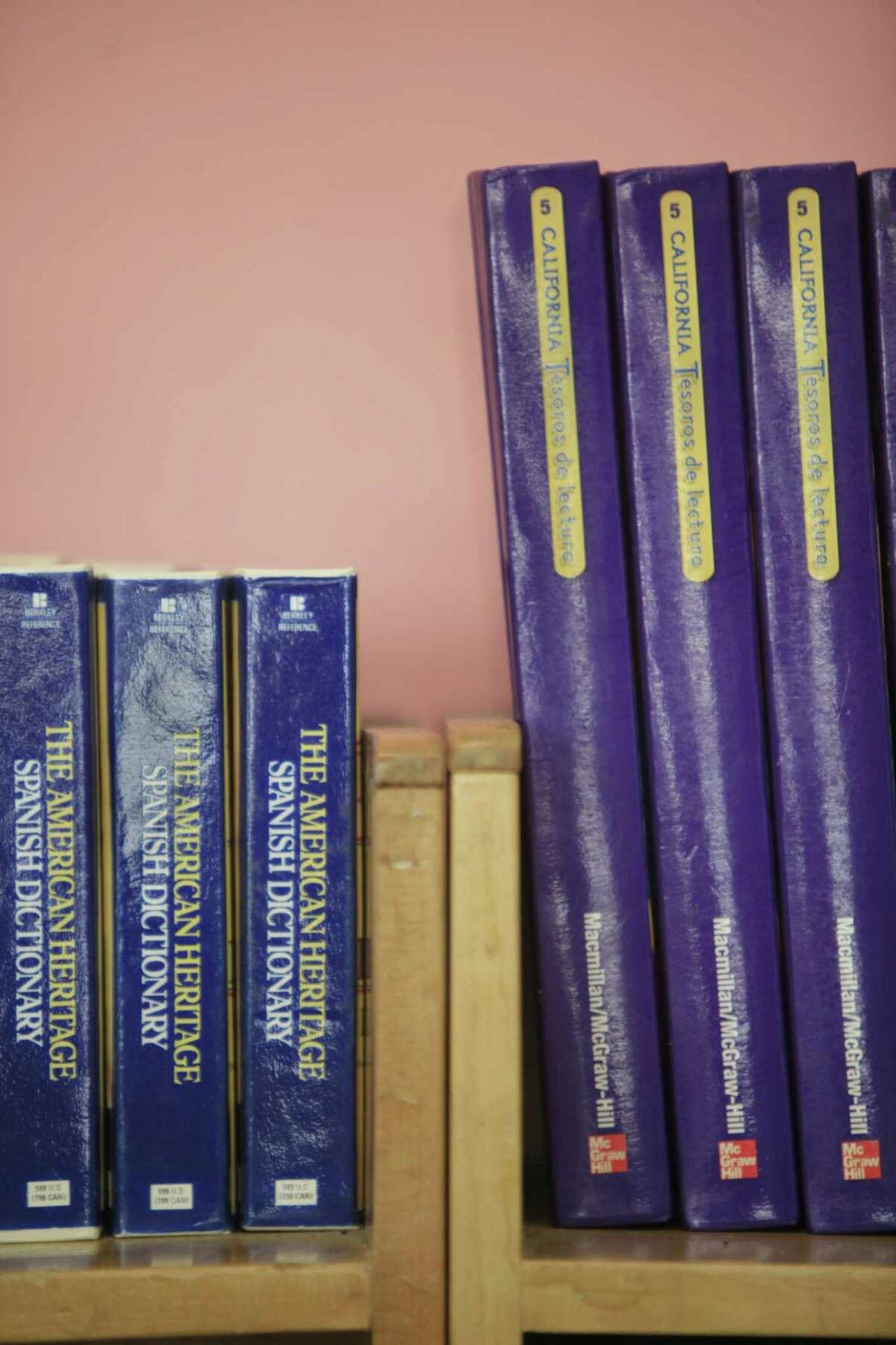 Spanish dictionaries and textbooks in Spanish sit on a shelf in Mission Education Center Elementary School in San Francisco in 2014.