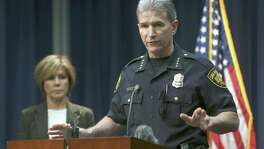 San Antonio Police Chief William McManus addresses the media Oct. 26, 2017 during a news conference about a former detective accused of mishandling roughly 130 sex crime and family violence cases. On Thursday, the city released an audit of the Special Victims Unit that found the action's of former Detective Kenneth Valdez are not representative of the whole unit.